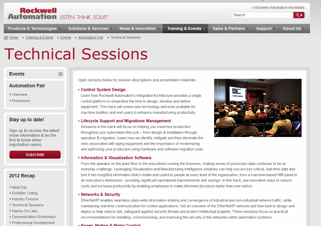 Automation Fair Technical Sessions Page
